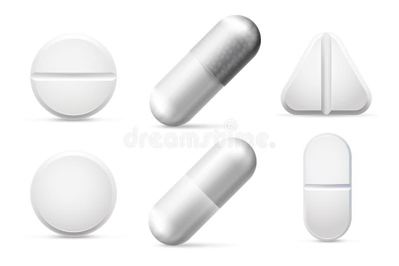 Round white cure pills, aspirin, antibiotics and painkiller drugs. Pain treatment pill and pharmaceutical drug vector. Medicine round white cure pills, aspirin stock illustration