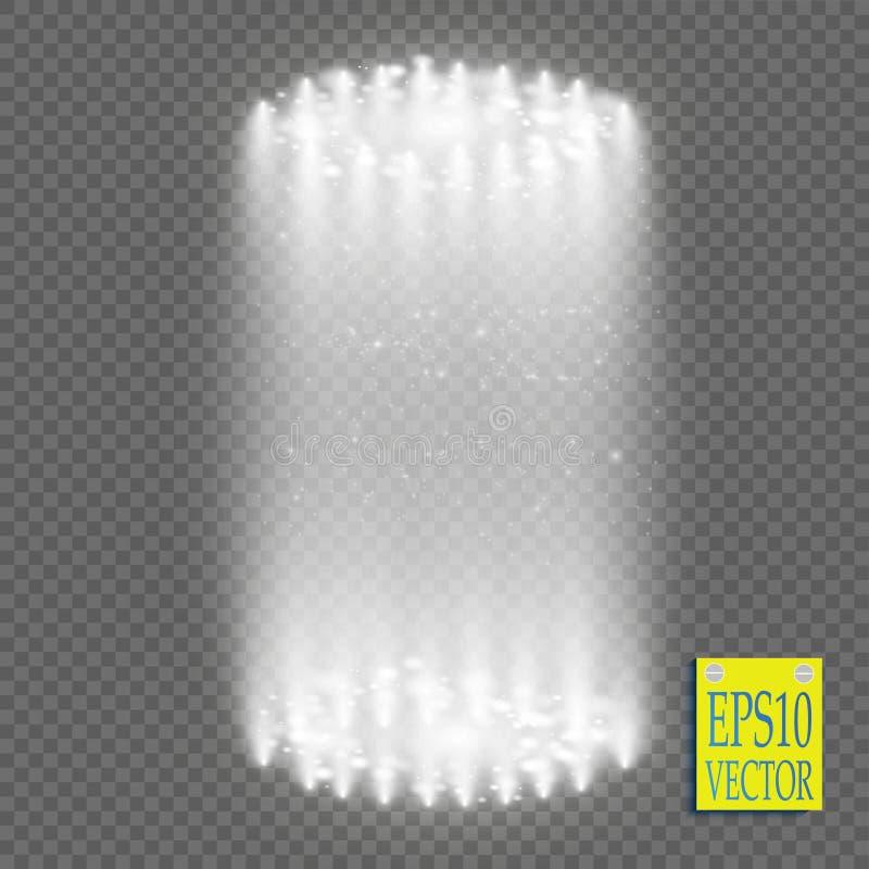 Round white glow rays night scene with sparks on transparent background. Empty light effect podium. Disco club dance stock illustration