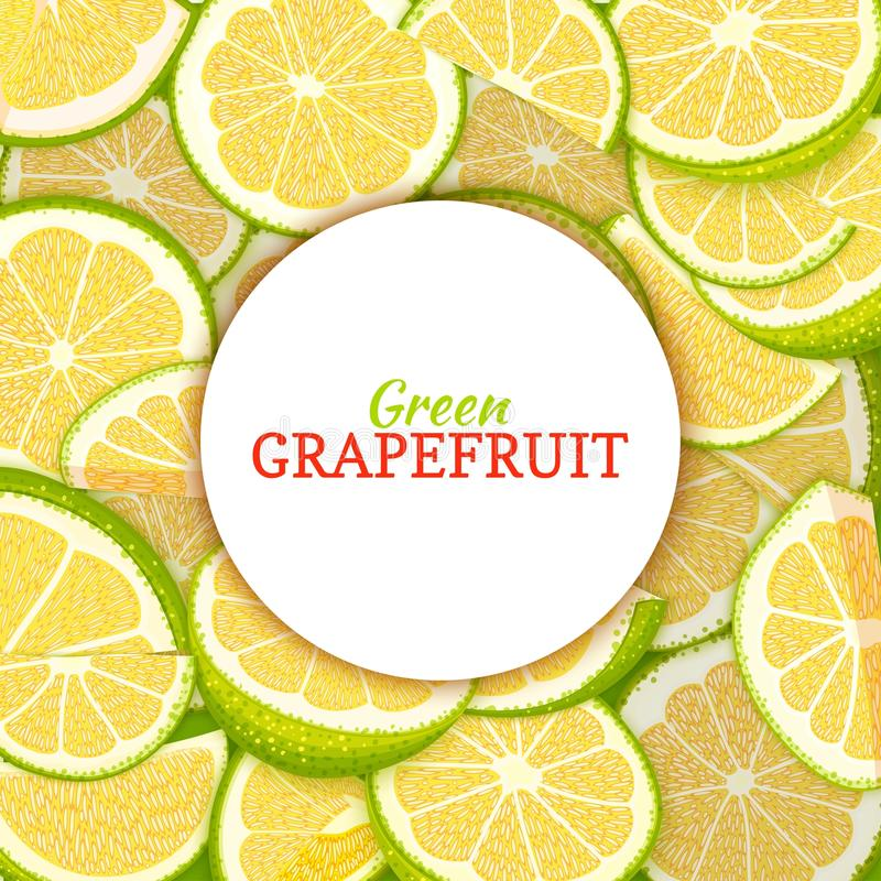 Round white label on citrus grapefruit background. Vector card illustration. Tropical fresh and juicy green pomelo frame vector illustration
