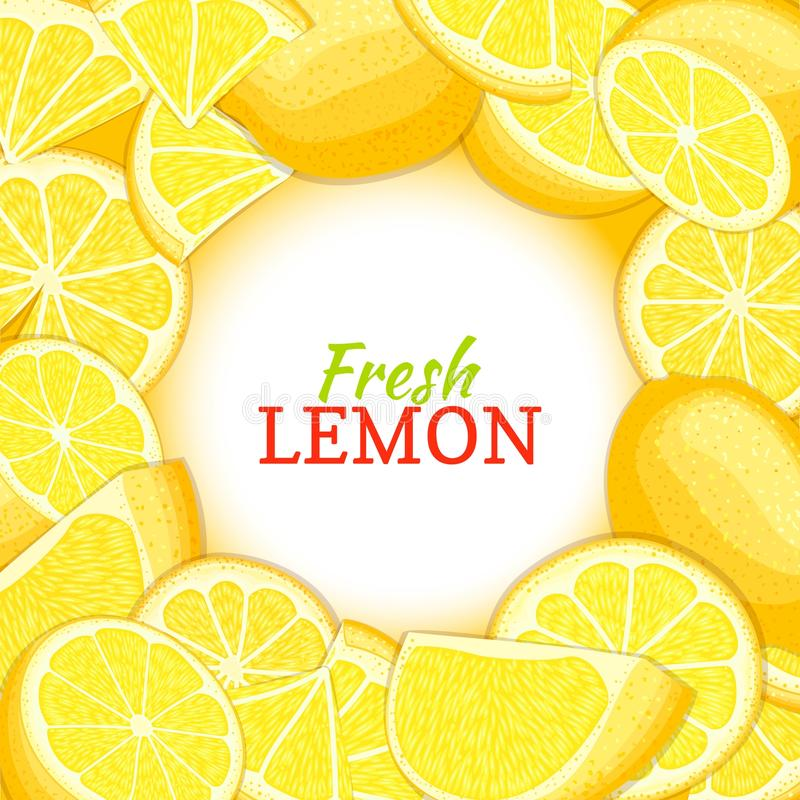 Round white label on citrus lemon background. Vector card illustration. Tropical fresh and juicy yellow lime frame stock illustration