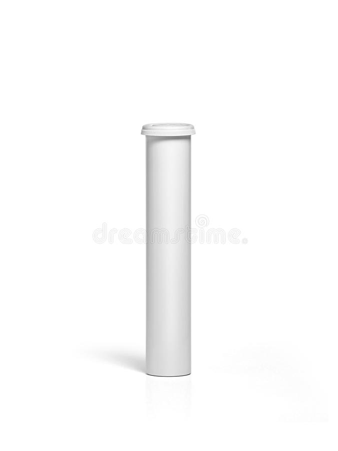 Round white matte aluminum tube with cap for effervescent or carbon tablets, pills, vitamins. Realistic packaging. For design In the media stock photo