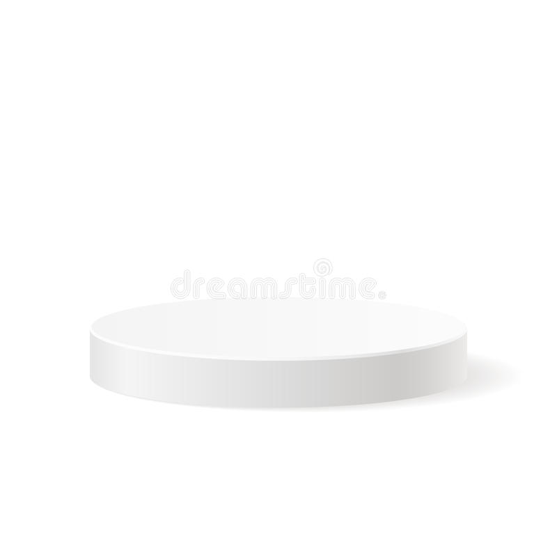 Round white podium. With shadow. Vector illustration on a white background, template for your graphic design stock illustration