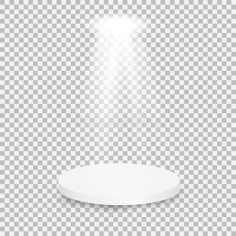 Round white showroom pedestal. stock images