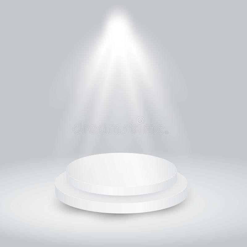 Round white showroom pedestal. royalty free stock images