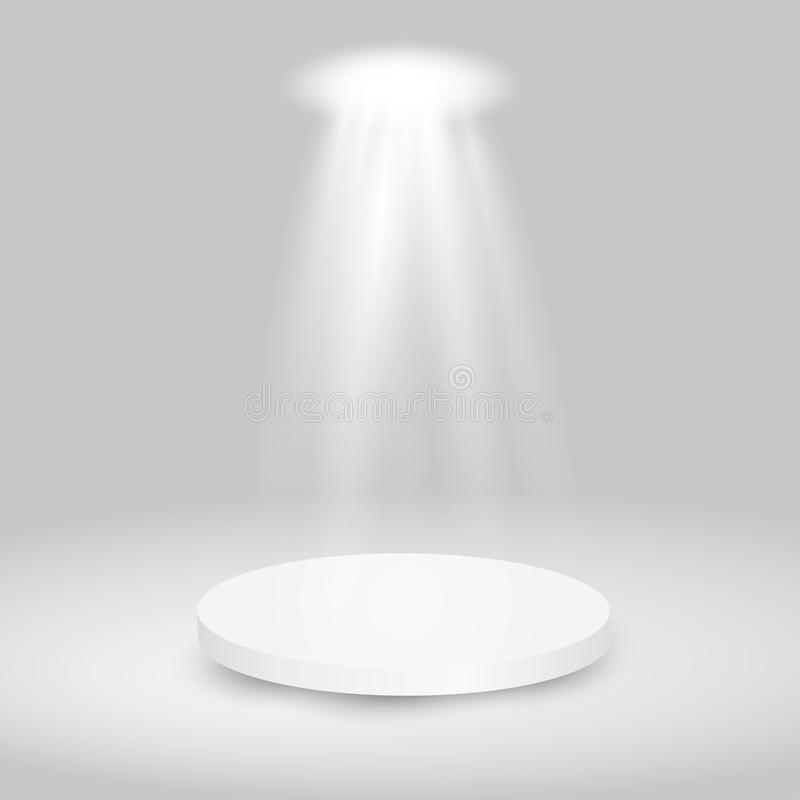 Round white showroom pedestal. royalty free stock image