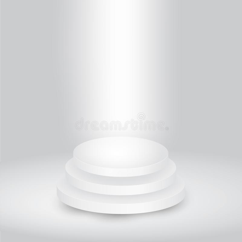 Round white showroom pedestal royalty free stock image