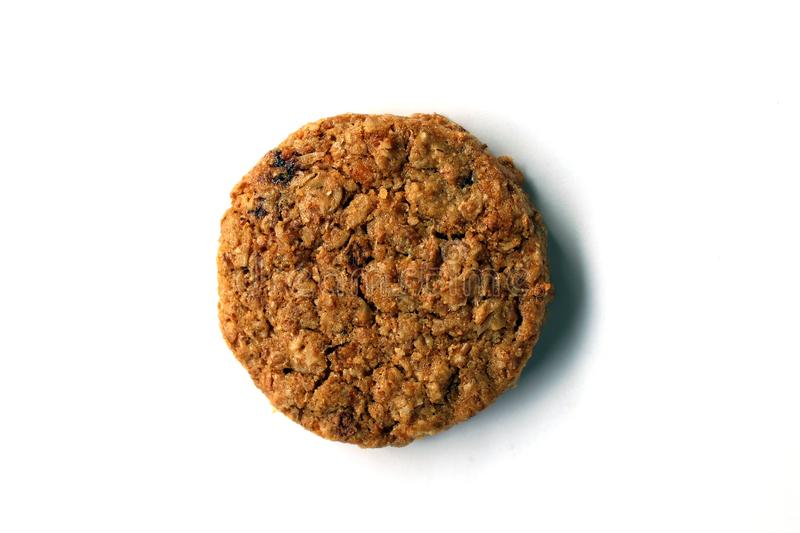 Round whole wheat organic cookie isolated stock image