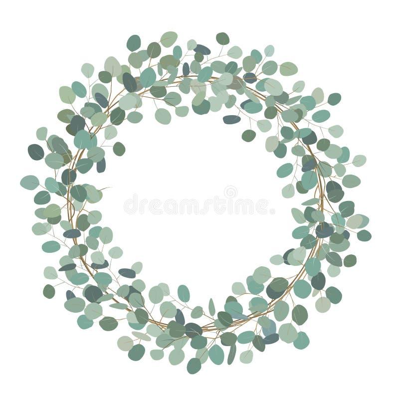 Round wianek z srebnego dolara eukaliptusem Leczniczy ziele dla kart, ślubny zaproszenie, plakaty, save datę lub ilustracji