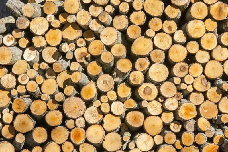 Round wood pile royalty free stock photography