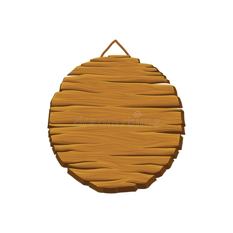 Round wooden board for displaying advertisements. Old hanging signboard. Timber billboard with place for your message. Wood texture. Detailed vector stock illustration