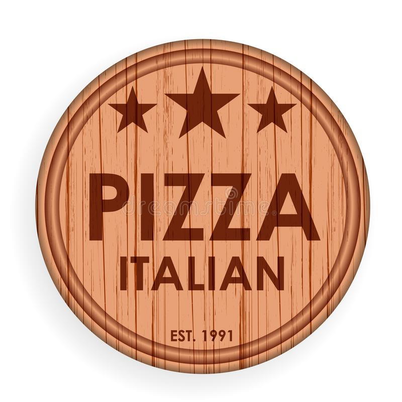 Round wooden plate, cutting board. Pizza design elements template for logo label for pizzeria. Vector illustration. stock illustration