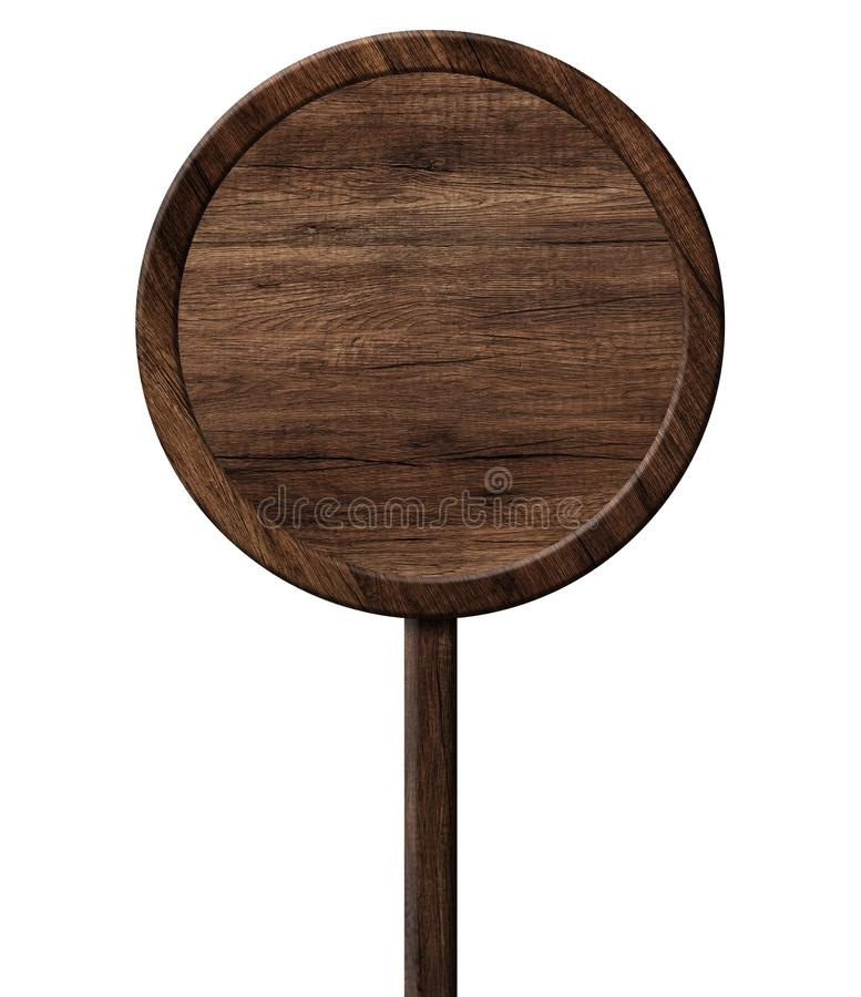Round wooden signpost made of dark wood with single pole stock illustration