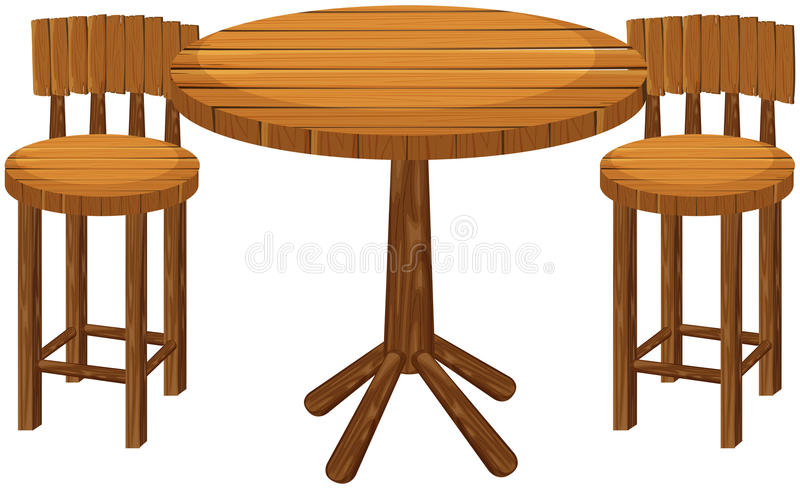 Round wooden table and chairs. Illustration vector illustration