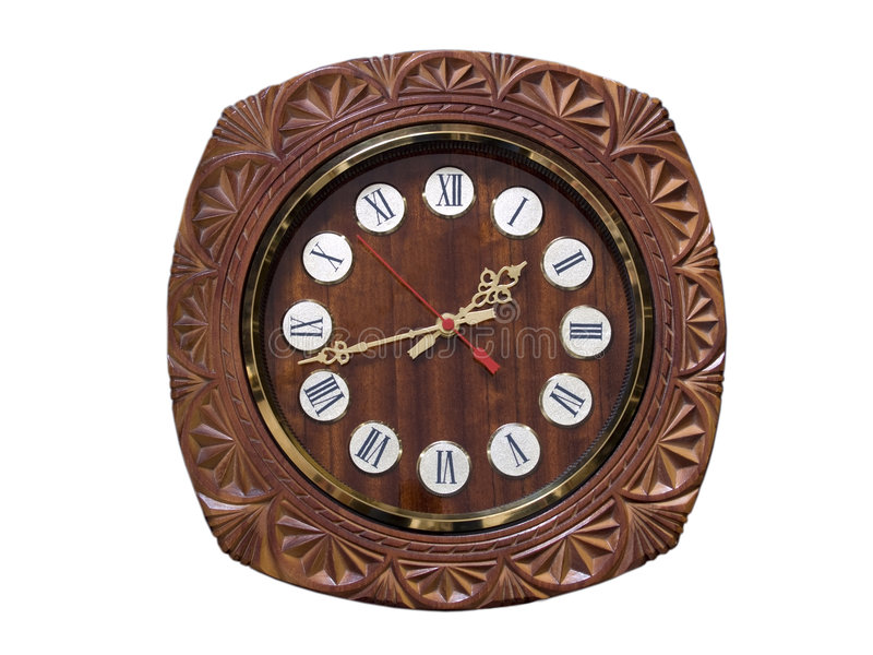 Round wooden wall clock stock image