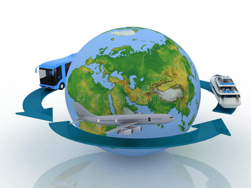 Round world voyage. Transport vehicles for a round world voyage vector illustration