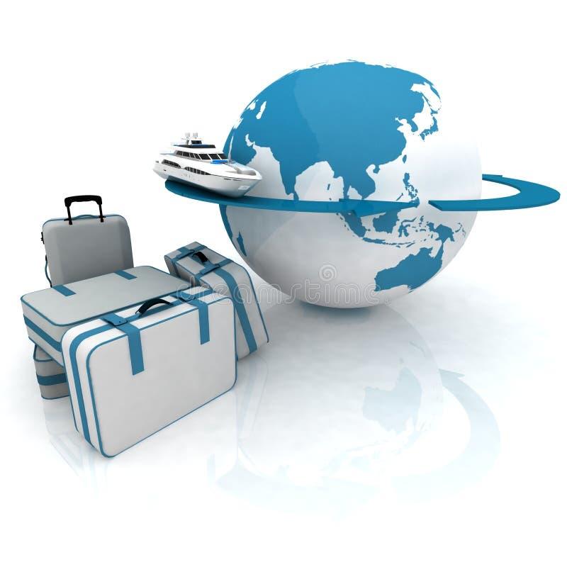 Round-world voyage. Luggage for a round-world voyage stock illustration