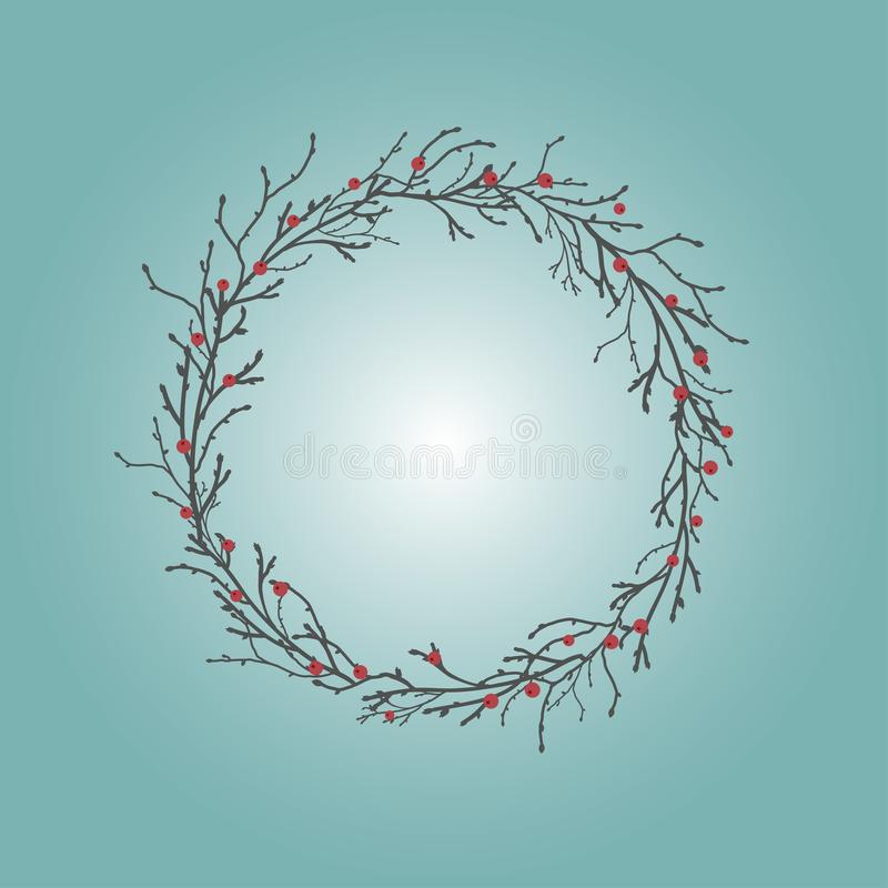 Round Wreath with black branches and twigs and red berries. Autumn garland on the grey blue sky. stock illustration