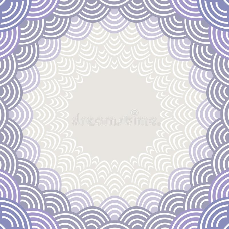 Round Wreath composition frame for your text. fish scales simple Nature background with japanese wave circle pattern Gray lilac vi royalty free illustration