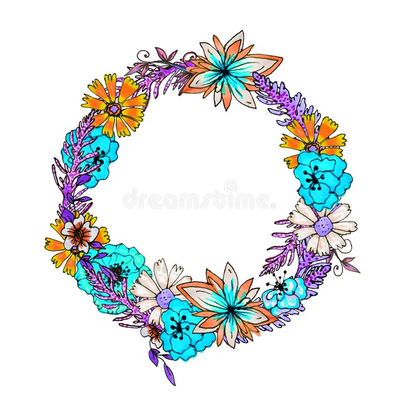 A round wreath of delicate flower. Template for spring and summer greeting cards royalty free stock image