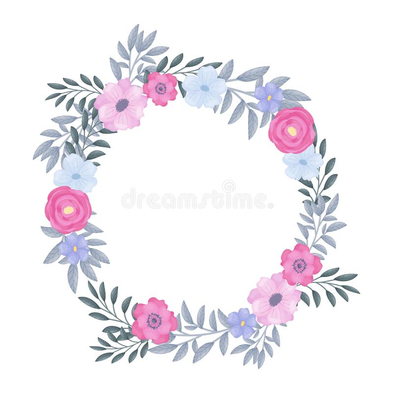 Round wreath of flowers and leaves. Vector illustration on a white background. stock illustration
