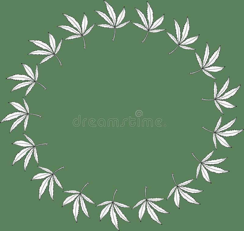 Round wreath green frame leave of big hemp. Decorative Round wreath green frame leave of big hemp stock illustration