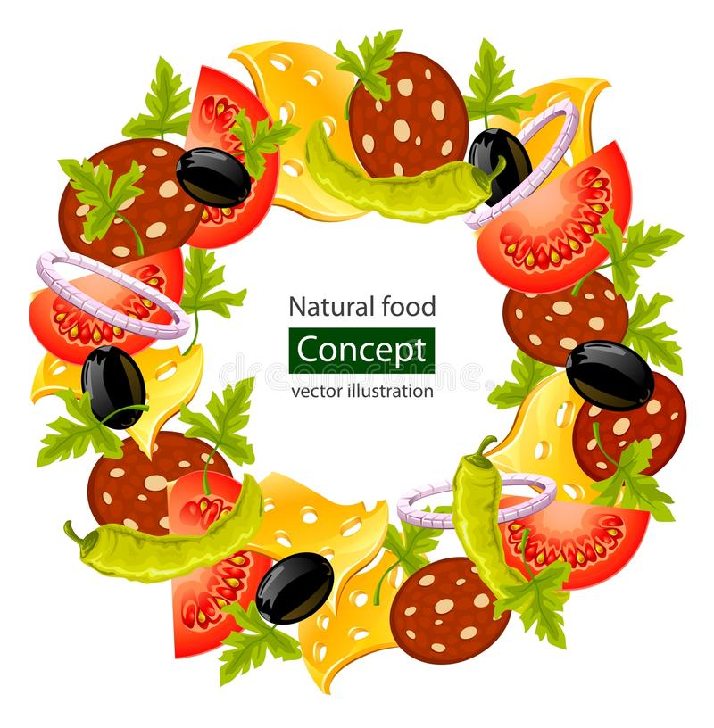 Free Round Wreath Of Food Concept Royalty Free Stock Photography - 18730237