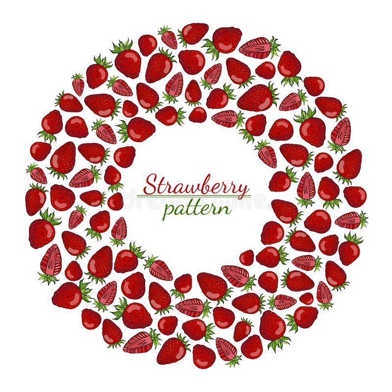 Round wreath of red strawberries isolated on white background vector illustration