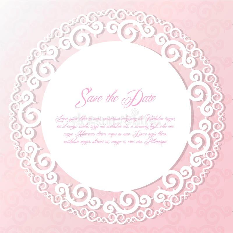 Round wycinanka papieru rama, laseru cięcia koronki doily, ślubnej karty vecto ilustracja wektor