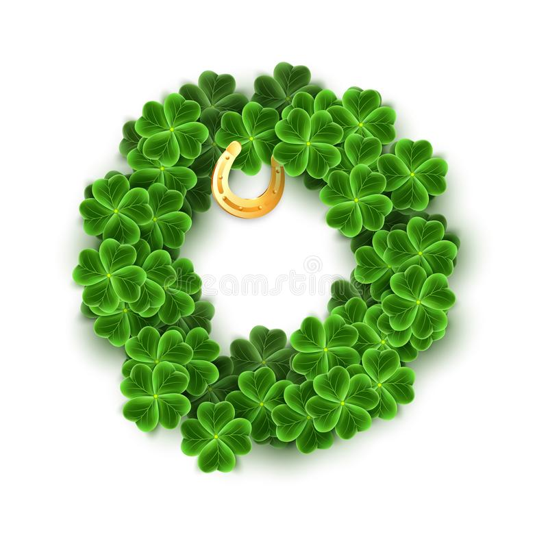 Round wypełniający z Realistycznymi Koniczynowymi liśćmi, Złocista podkowa dla St Patricks dnia wakacje Shamrock trawy symbol luk ilustracji