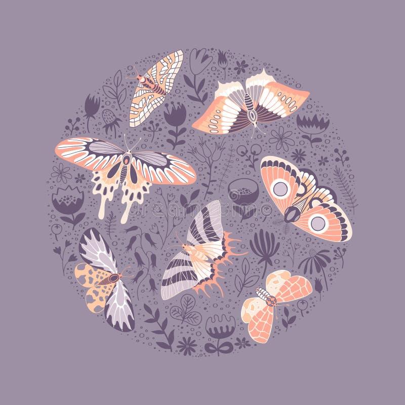 Round wzór motyle i kwiaty royalty ilustracja