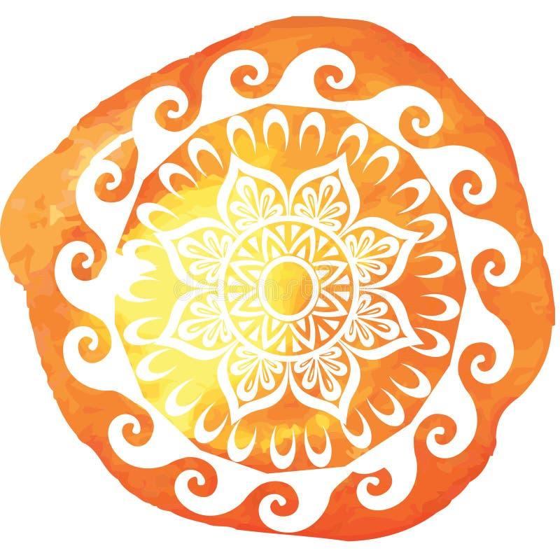 Round wzór na akwareli splatters ilustracja wektor