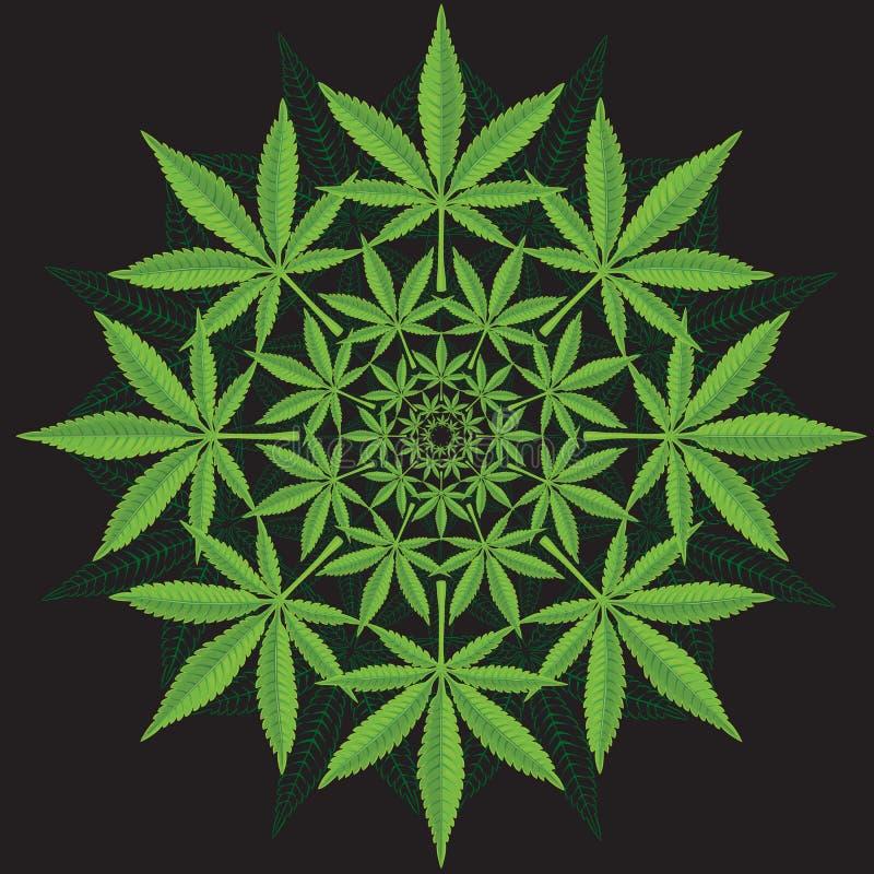 Round wzór od marihuana liścia ilustracja wektor