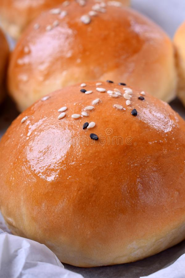 Round yeast bun topped with sesame seeds stock photos