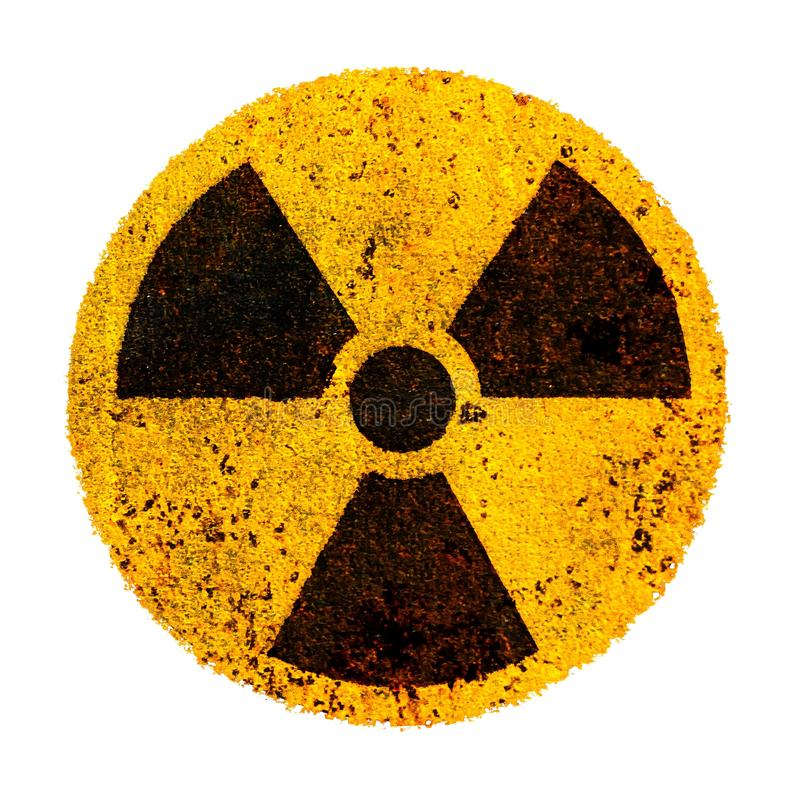 Nuclear Round yellow black radioactive ionizing radiation nuclear alert danger symbol rusty metal. Radiation nuclear energy symbol stock photos
