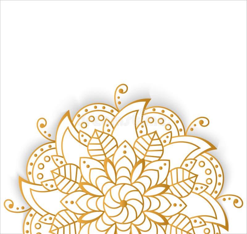Round złocisty mandala na białym odosobnionym tle Wektorowy boho mandala z kwiecistymi wzorami ilustracja wektor
