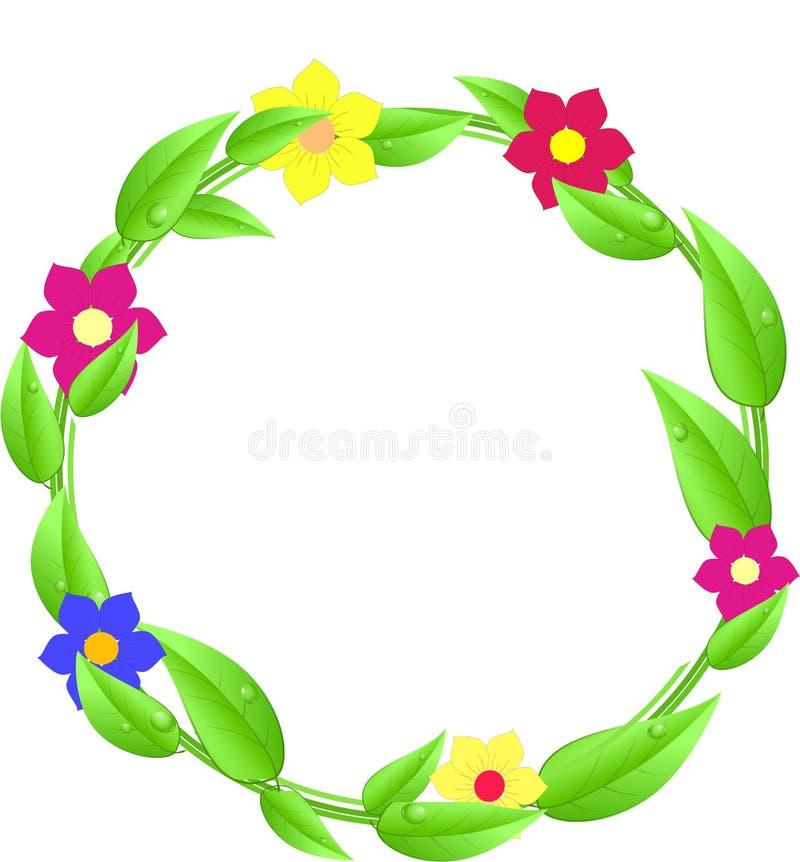Round z liśćmi i kwiatami z tekst przestrzenią ilustracja wektor