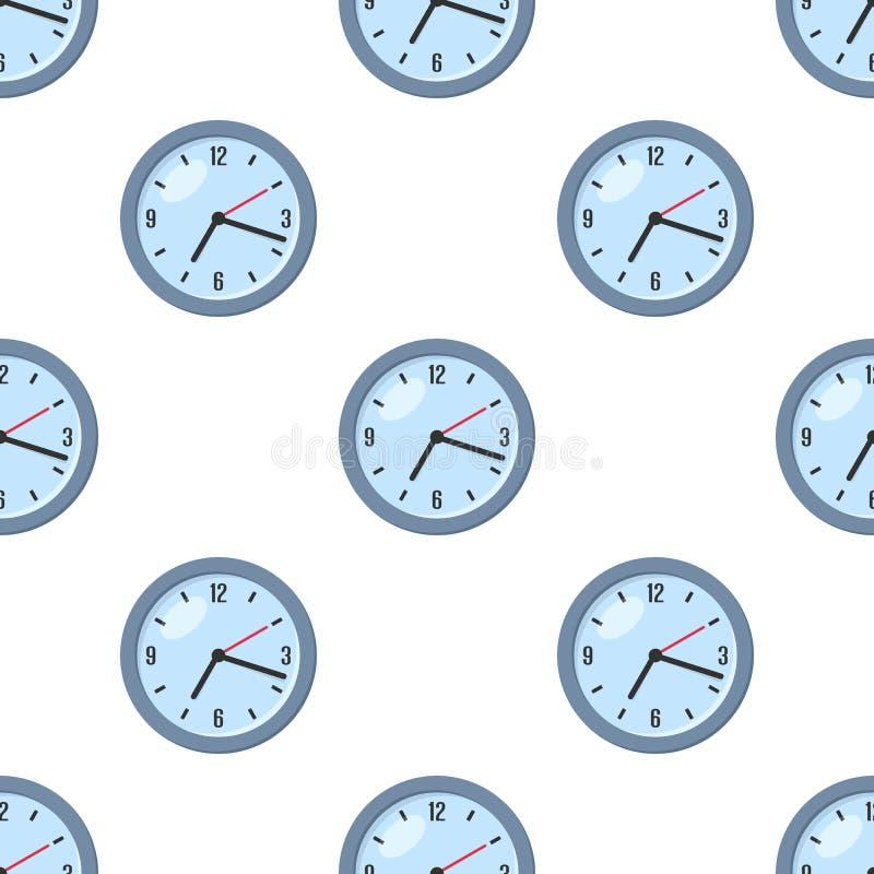Round Zegarowej Płaskiej ikony Bezszwowy wzór ilustracji