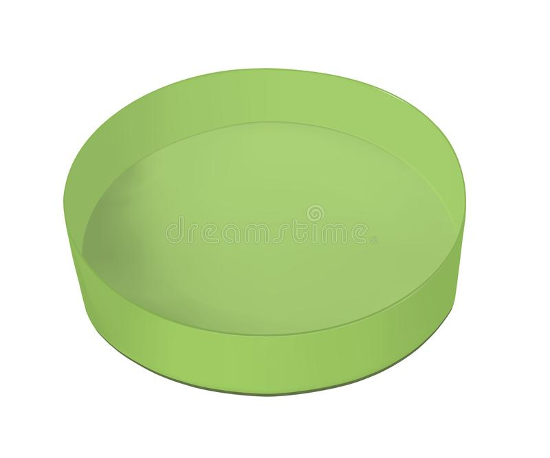 Round zielony karton dla jedzenia, ciastek i prezentów, ilustracji