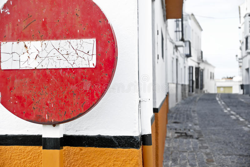 Round znak Żadny wejście zdjęcie stock