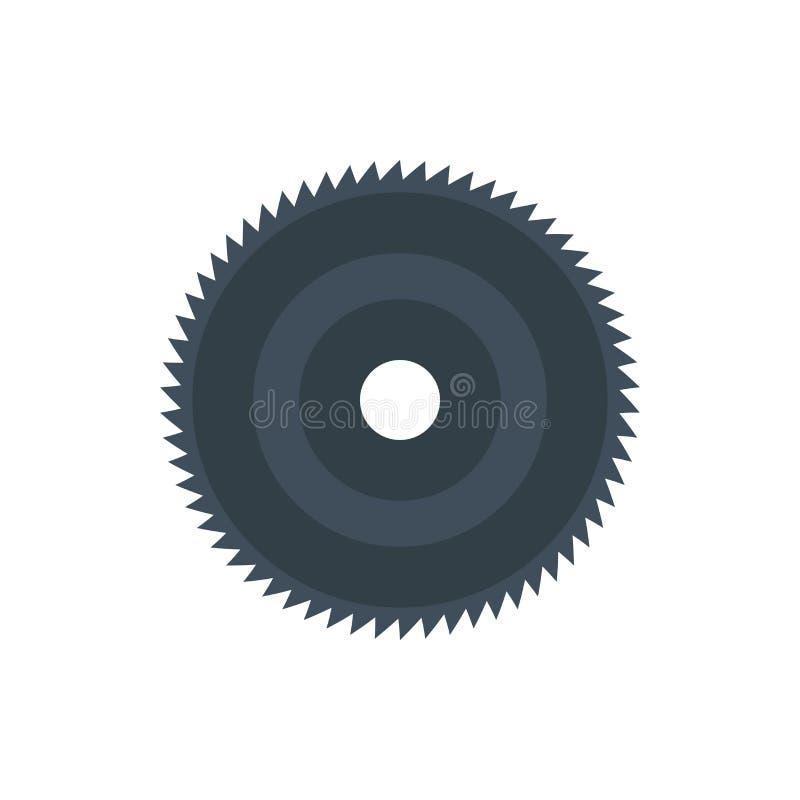 Round zobaczył wektorową kurendy narzędzia ostrza ikonę Okręgu wyposażenia metalu przemysłu rżnięty dysk odizolowywający Obrotowy ilustracja wektor
