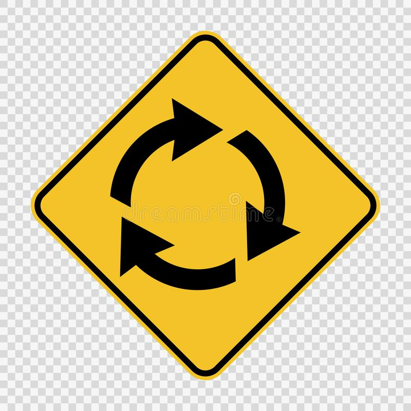 Free Roundabout Ahead Sign On Transparent Background Royalty Free Stock Image - 137714456