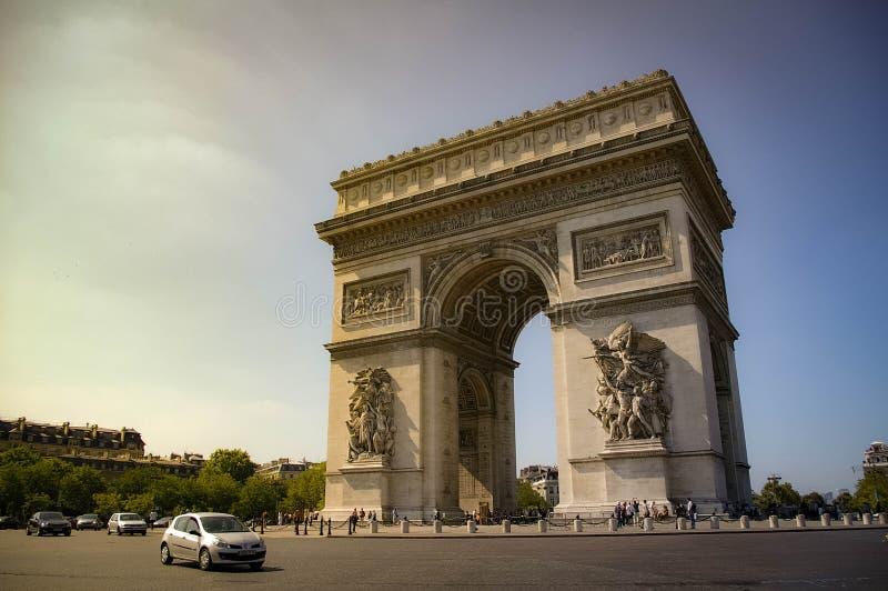 Roundabout the Arc de Triomphe stock image