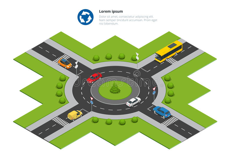 Roundabout, cars, roundabout sign and roundabout road. Asphalted Road Circle. Vector isometric illustration for. Infographics. City traffic vector illustration
