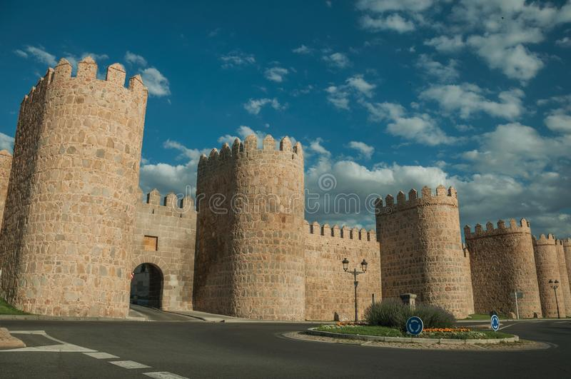 Roundabout in front gateway and large wall encircling Avila stock photo