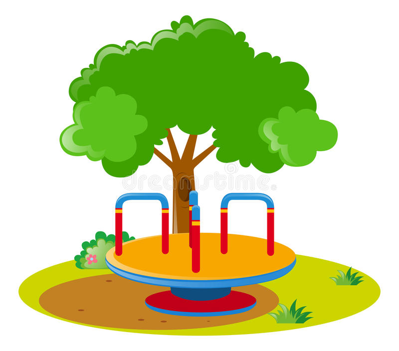 Roundabout in the middle of the park. Illustration vector illustration
