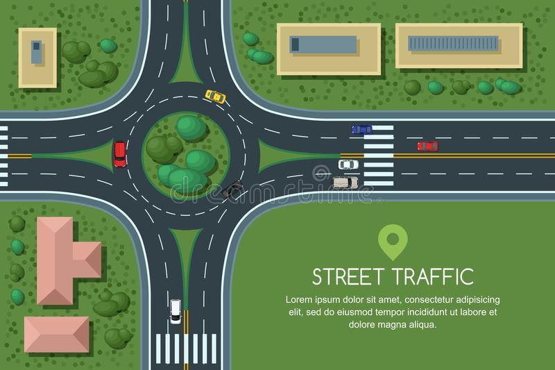 Vector flat illustration of roundabout road junction and city transport. City road, cars, crosswalk top view. stock illustration