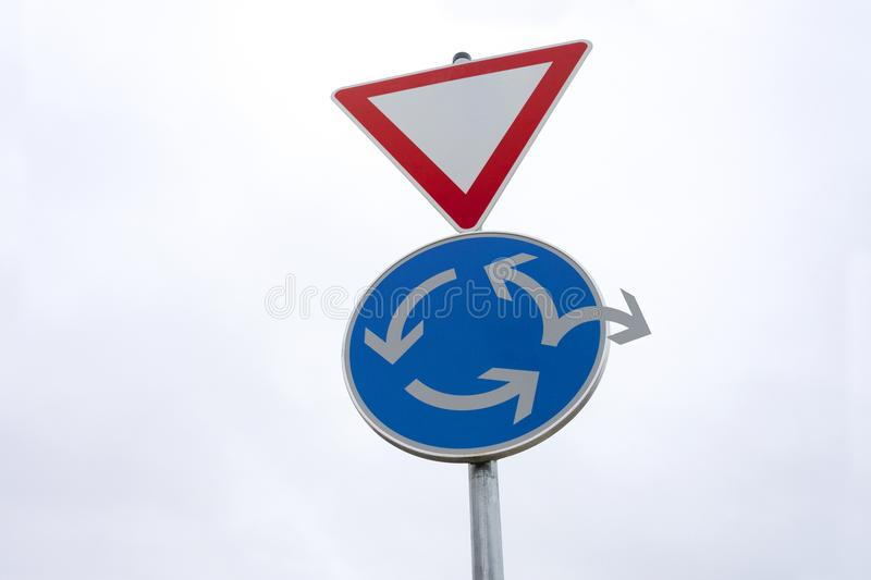 Roundabout traffic sign - Change of direction - Alternative way out stock images