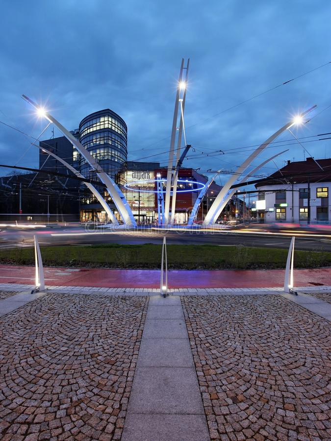 Roundabout U Koruny in Hradec Kralove / Czech Republic royalty free stock photo