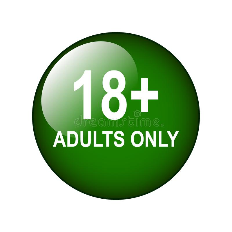 18 plus adults only. Vector illustration of adults only web button on isolated white background stock illustration