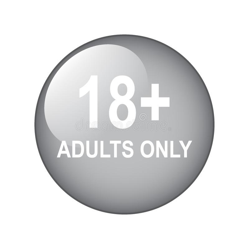 18 plus adults only. Vector illustration of adults only web button on isolated white background royalty free illustration